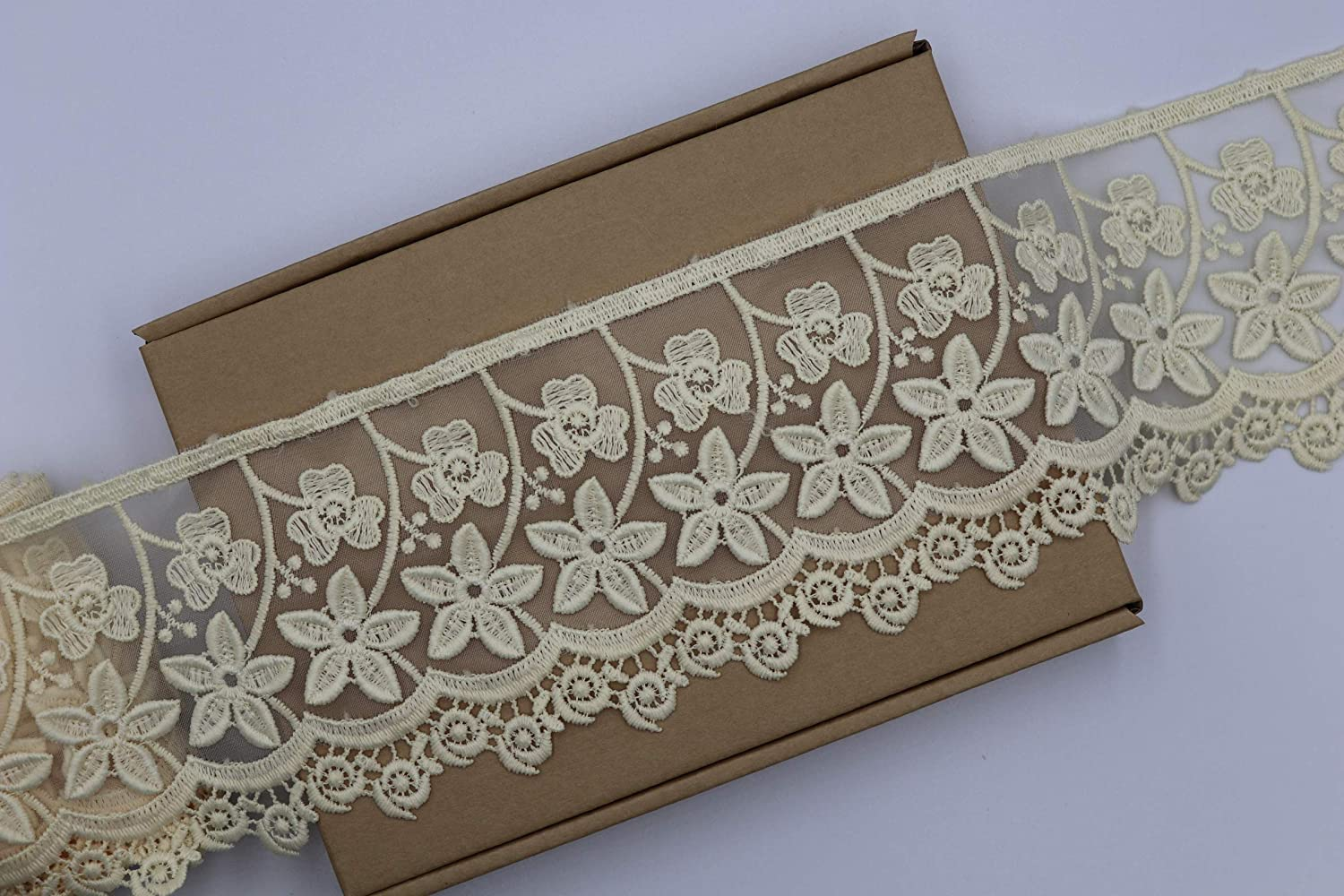 Peach 3 D 1 Yard White Two Layers Chiffon and Cotton Lace Trim for Wedding and Embellishment
