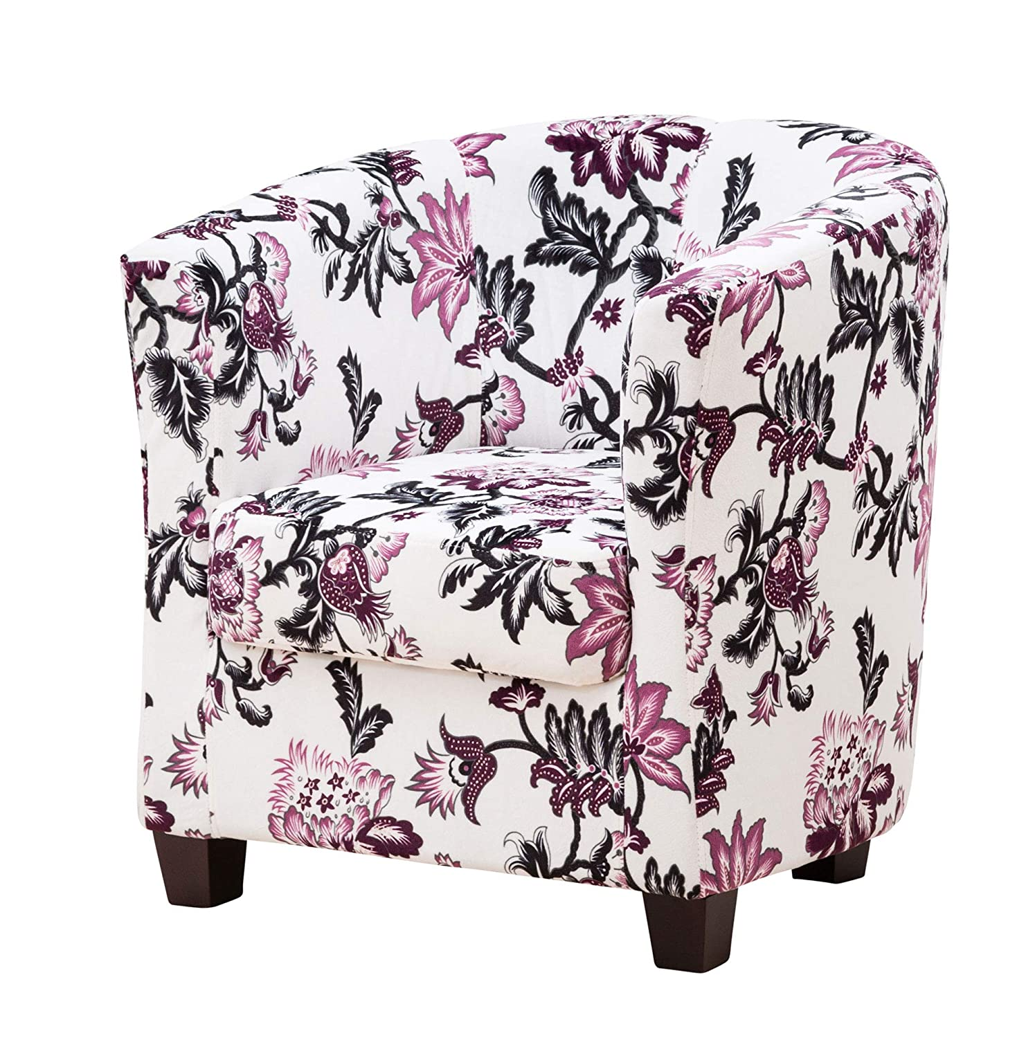 Sofa Collection Vallier Floral Fabric Tub Chair/Armchair Seating (White Black Purple)