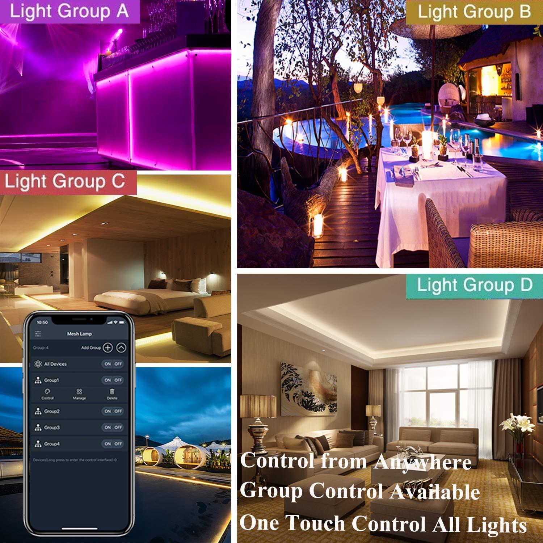 Smart Music Sync Phone App gesteuertg LED Streifen,Bluetooth rgb LED Strip 5M 150 LED Lichtband Terrasse Party und ganzes Haus 5050 Lampenperlen,12V Wasserdicht IP65 Dekoration f/ür K/üche
