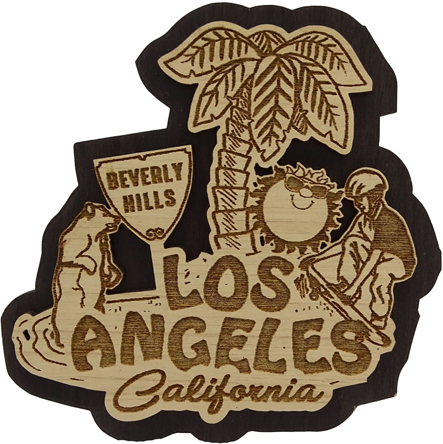 Los Angeles Wood Engraved Wooden Fridge Magnet Souvenir Gift