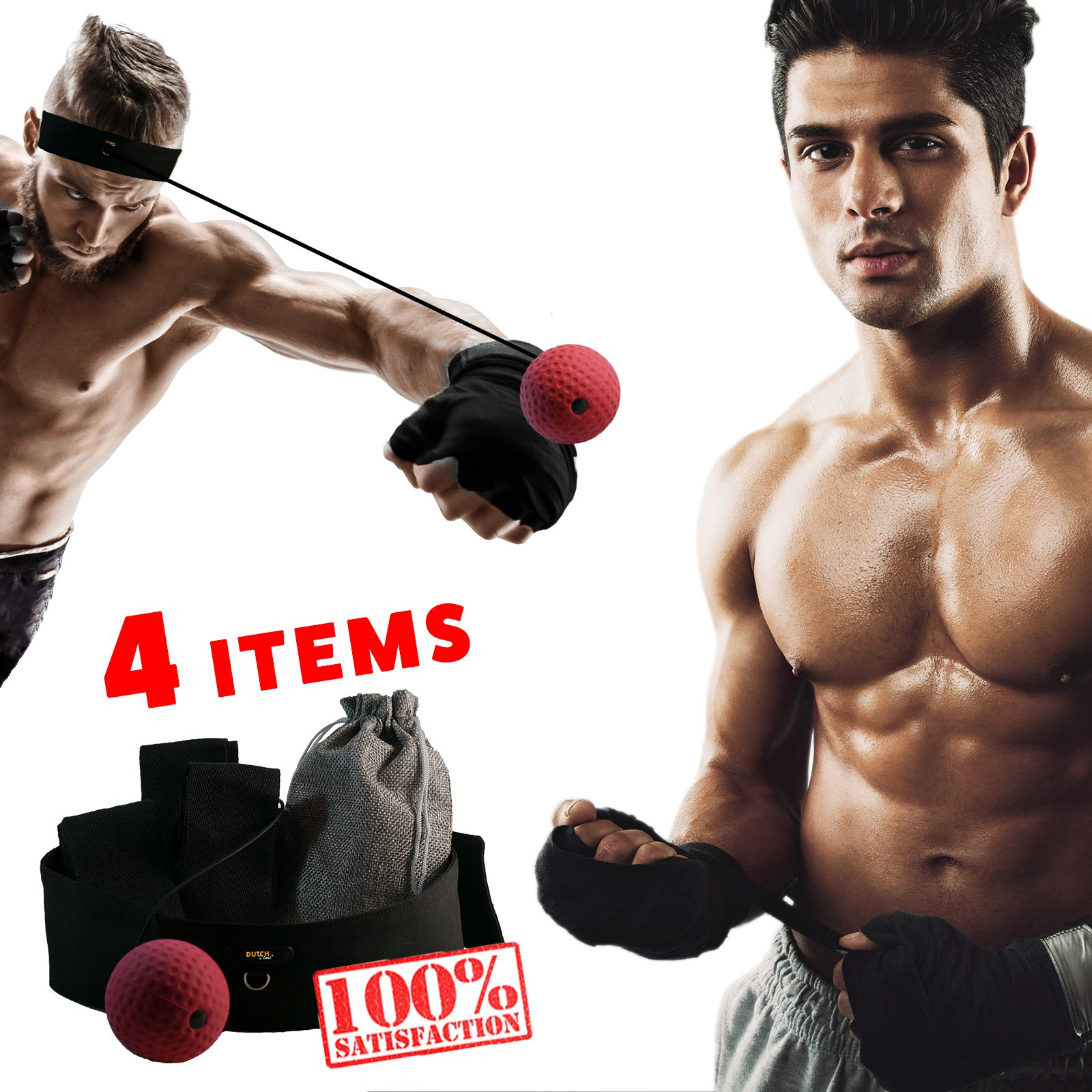 Dutch D-luxe Boxing Reflex Ball to Improve Speed and Concentration, Reflex Punch Ball with Headband for MMA Training, Burn Calories with Fun Speed Game Boxing All Sizes! - With Free Boxing Gloves