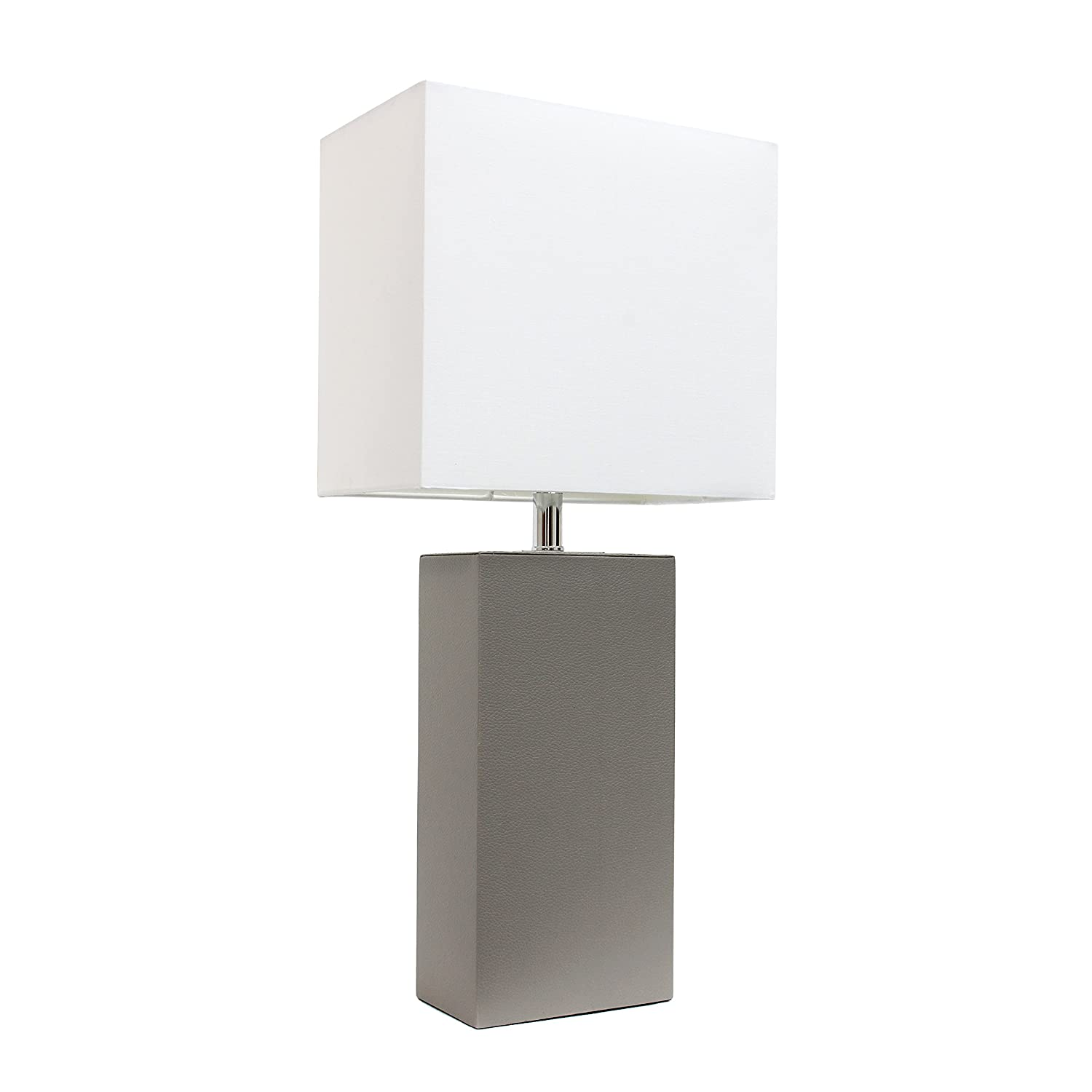 "Elegant Designs LT1025-GRY Modern Leather Table Lamp with White Fabric Shade 3.85"" Gray"
