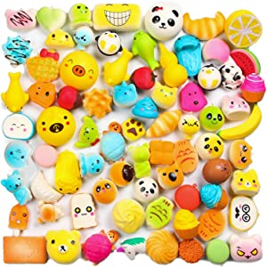 WATINC Random 30pcs Squeeze Toys, Cream Scented Slow Rising Kawaii Squeeze Toys, Medium Mini Size Simulation Lovely Toy, Phone Straps, Goodie Bag Egg Filler,