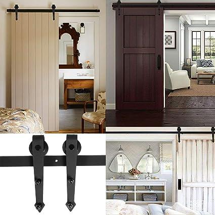 homgrace – Herraje para puerta corredera de 6 ft colgantes Carril Sistema de puerta corredera puerta