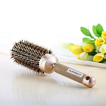 Cepillo redondo de cerámica Suprent, con cerdas de jabalí para secar el cabello, dar estilo, rizar, agregar volumen y brillo (4,6 cm aprox.
