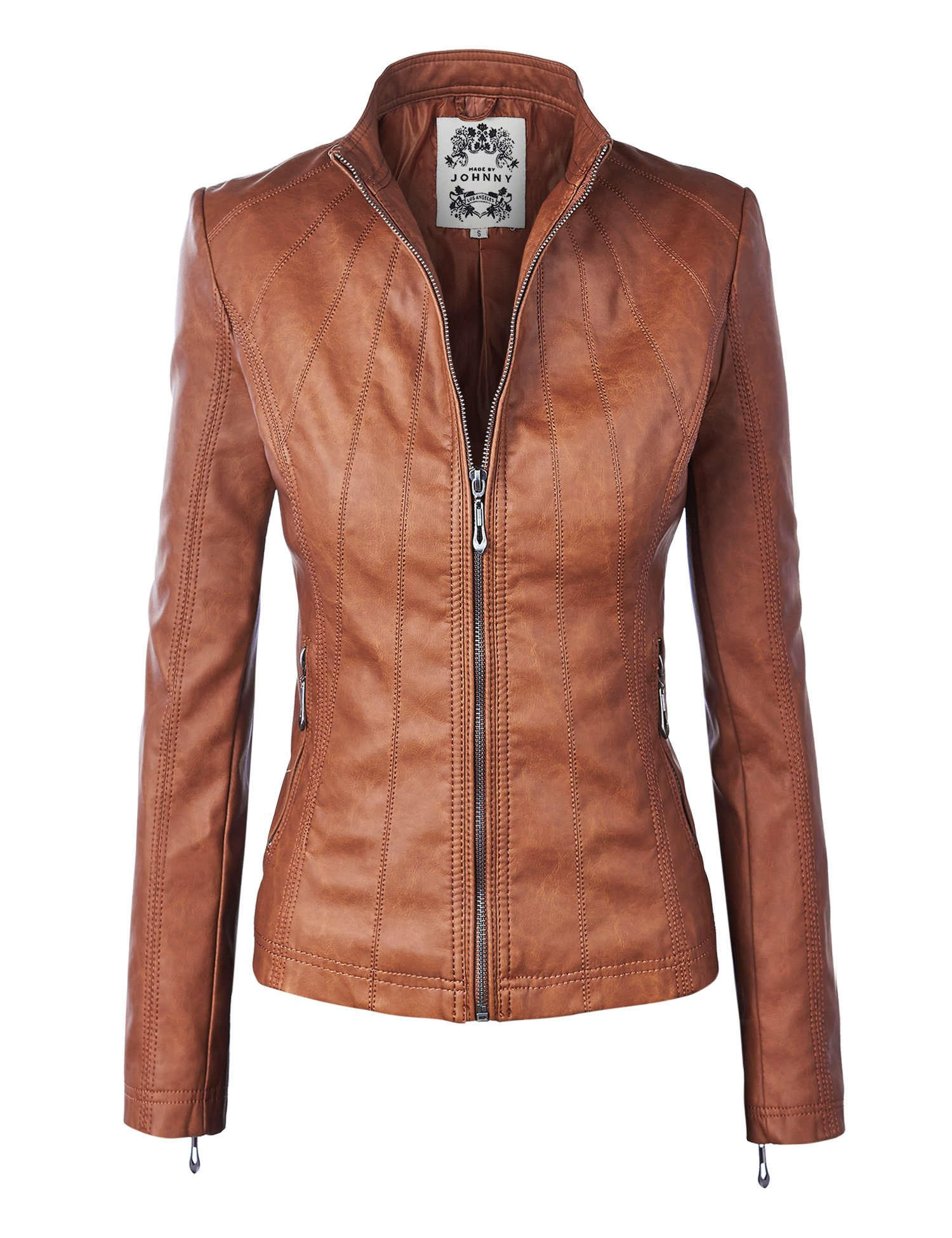 Come Together California CTC WJC877 Womens Panelled Faux Leather Moto Jacket XL Camel