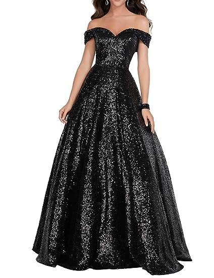 Yirenwansha 2019 Off Shoulder Prom Dress For Women Long Sequin