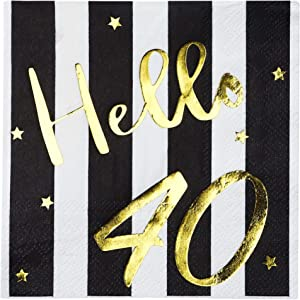 Hello 40 Cocktail Napkins - Happy 40th Birthday Decorations for Men Women | Folded 5x5 Inches Party Napkins | 3-Ply Paper Beverage Napkins, Black and Gold 40th Birthday Napkins, Wedding Anniversary
