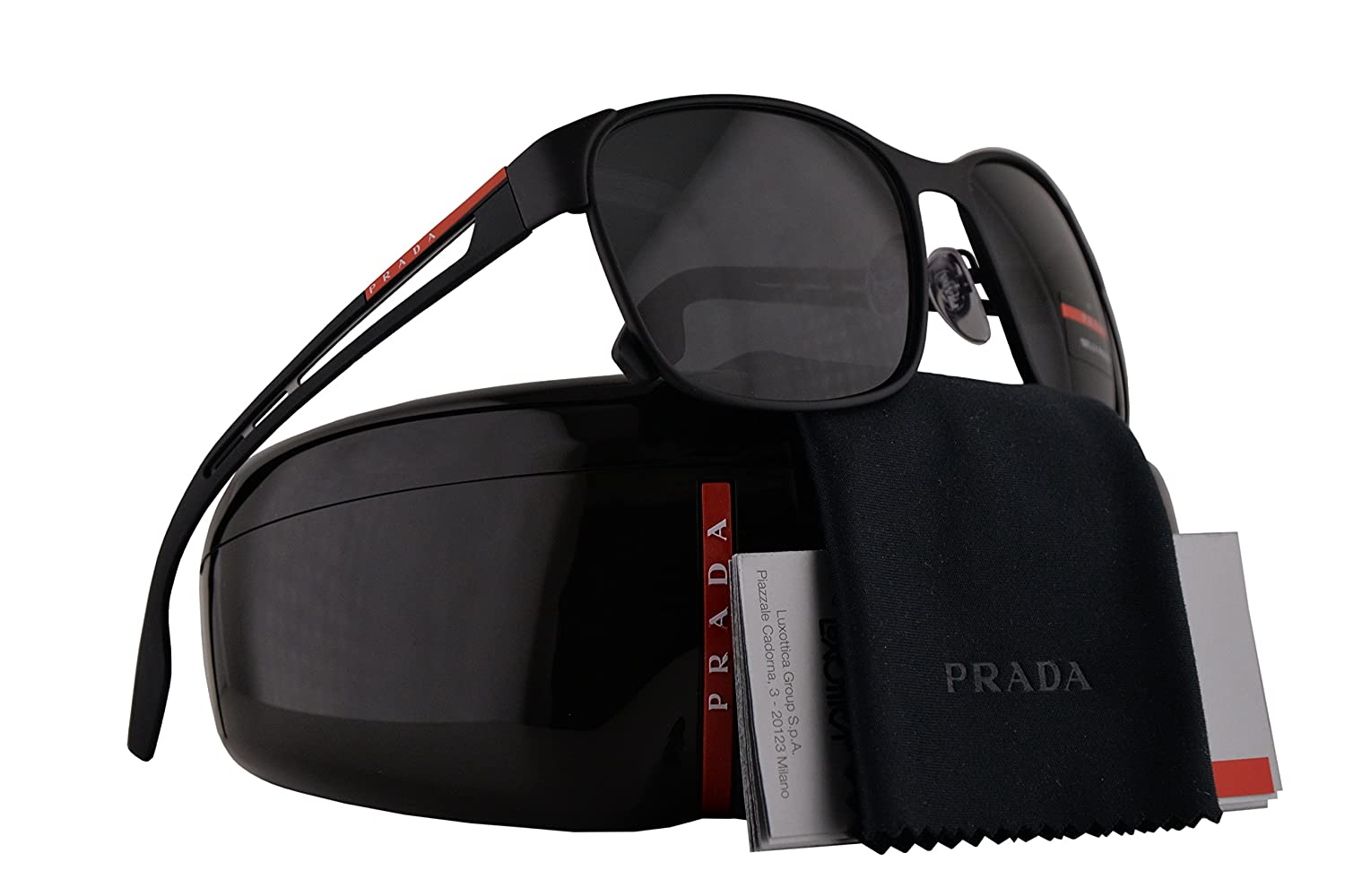 abfae163d1ac Prada PS52TS Sunglasses Black Rubber w Grey Lens 59mm DG05S0 SPS52T PS 52TS  SPS 52T  Amazon.co.uk  Clothing
