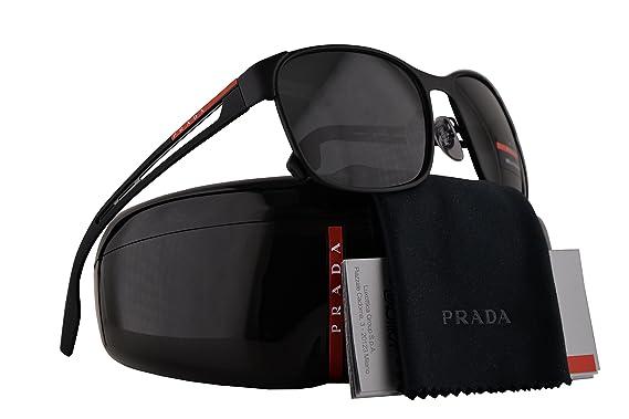 2f4d11e8d855 Prada PS52TS Sunglasses Black Rubber w Grey Lens 59mm DG05S0 SPS52T PS 52TS SPS  52T  Amazon.co.uk  Clothing