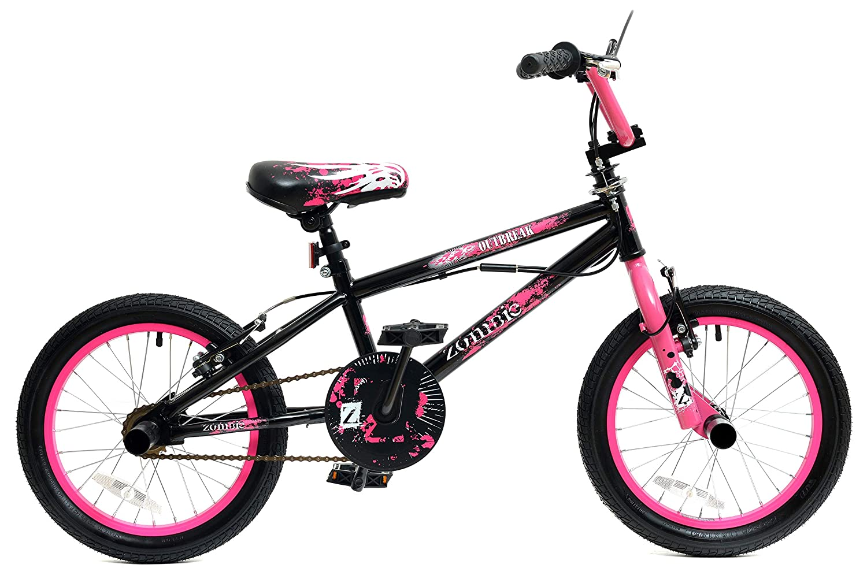 Zombie Outbreak Girls 16' Wheel Freestyle BMX Bike with Gyro Black Pink