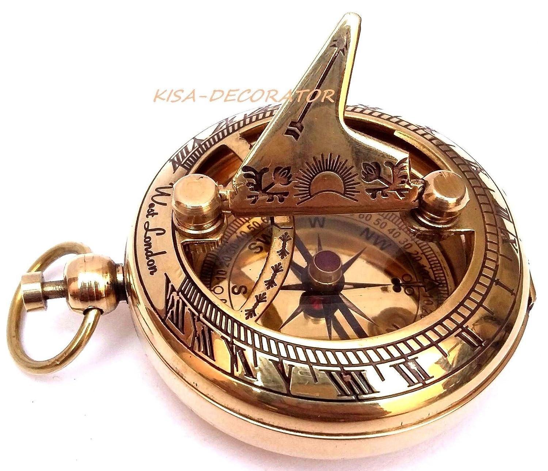 Shaheera Nauticalロット10 pcのソリッド真鍮の日時計コンパスポケットコンパスNautical Maritimeギフト B07CCZPCD6