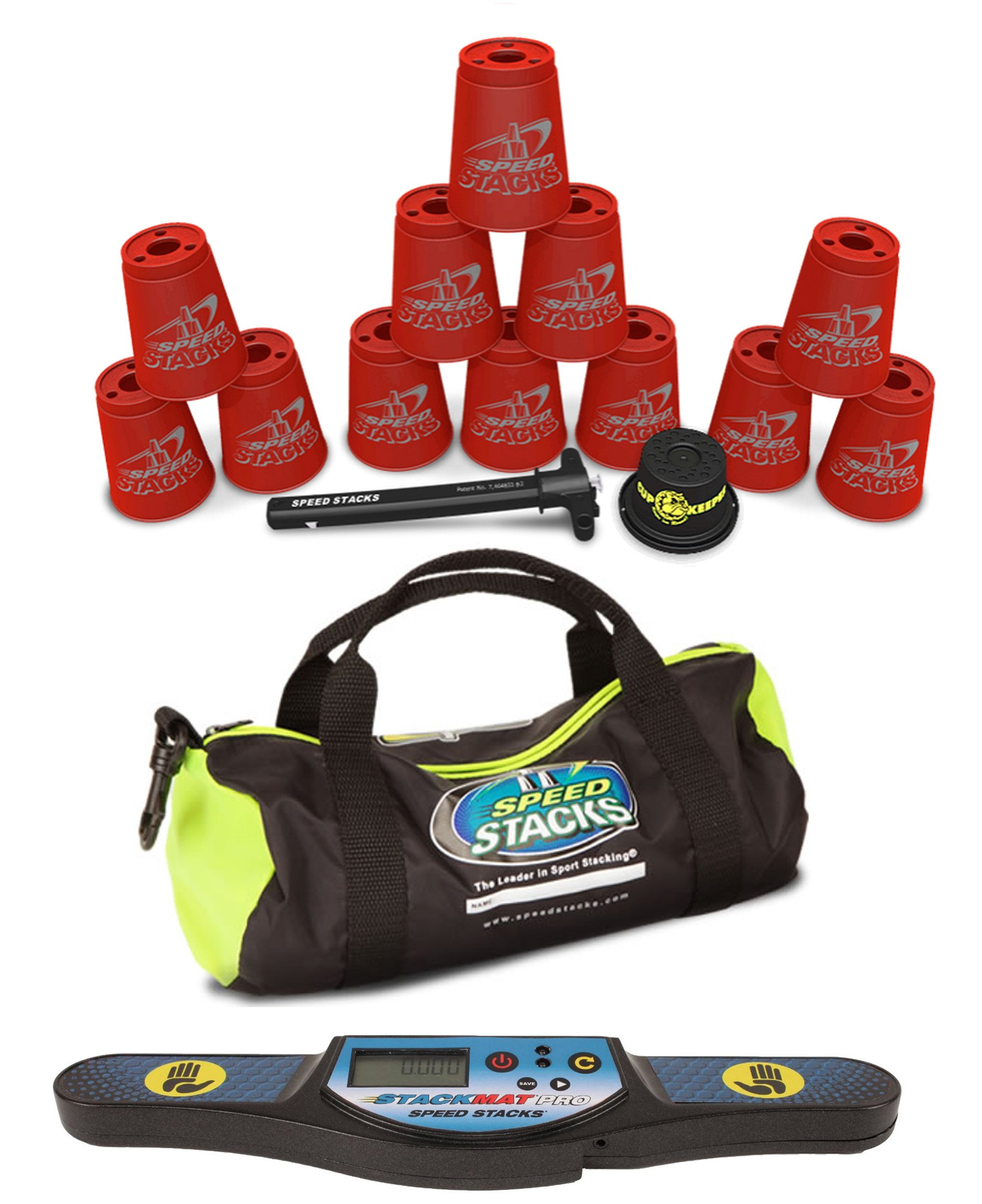 Speed Stacks Custom Combo Set: 12 REALLY RED Cups, StackMat Pro Timer, Cup Keeper, Quick Release Stem, Gear Bag