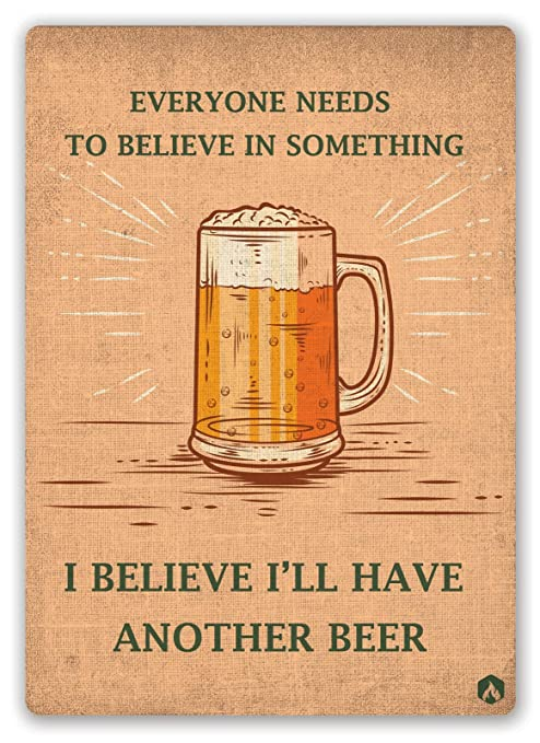 HiSign I Believe In Beer Cartel de Pared de Chapa Retro ...