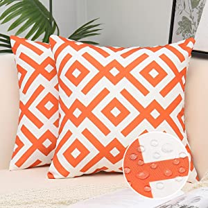 FINIFUR Orange Outdoor Waterproof Pillow Covers, Decorative Farmhouse Solid Cushion Covers for Patio Furniture Couch, 18x18 Inch