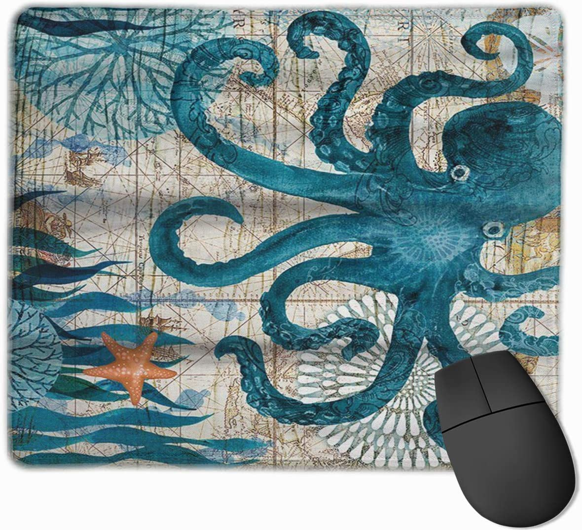 Mouse Pad with Design Retro Octopus Print for Computer Office Gaming