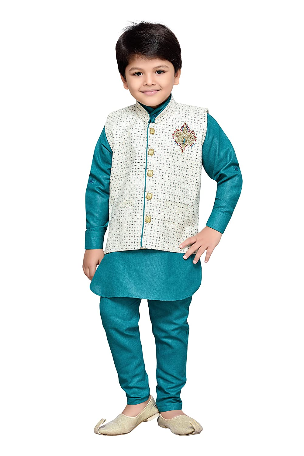 AJ Dezines Kids Indian Wear Bollywood Style Kurta Pyjama Waistcoat for Baby Boys 661-GREEN-1