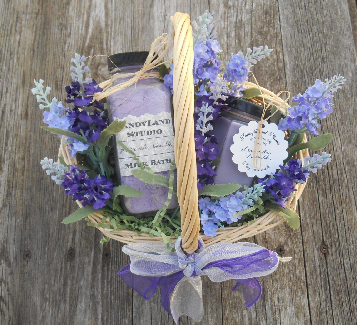 Lavender Vanilla Soy Candle and Milk Bath Spa Gift Basket