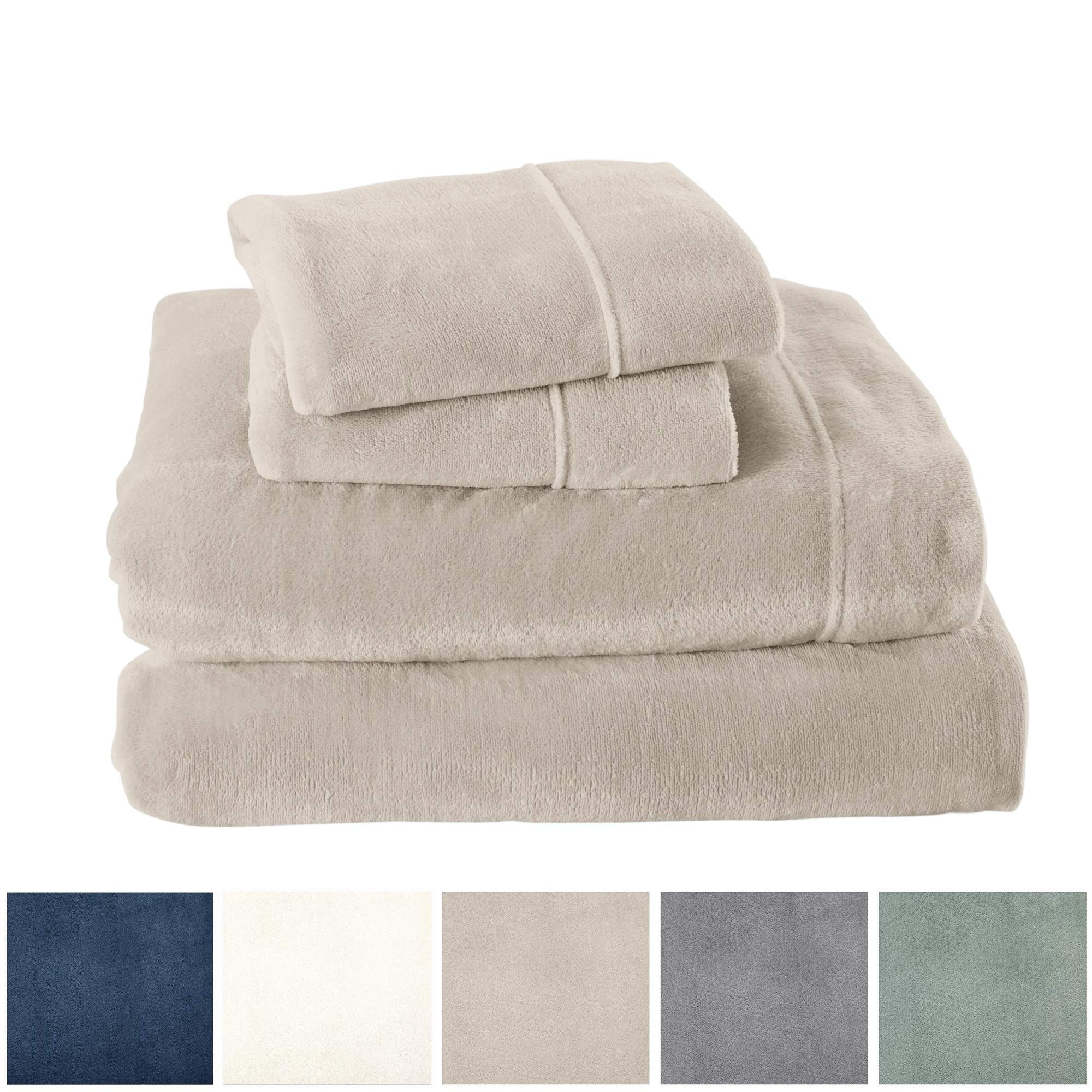 Extra Soft Cozy Velvet Plush Sheet Set. Deluxe Bed Sheets with Deep Pockets. Velvet Luxe Collection (Full, Light Grey)