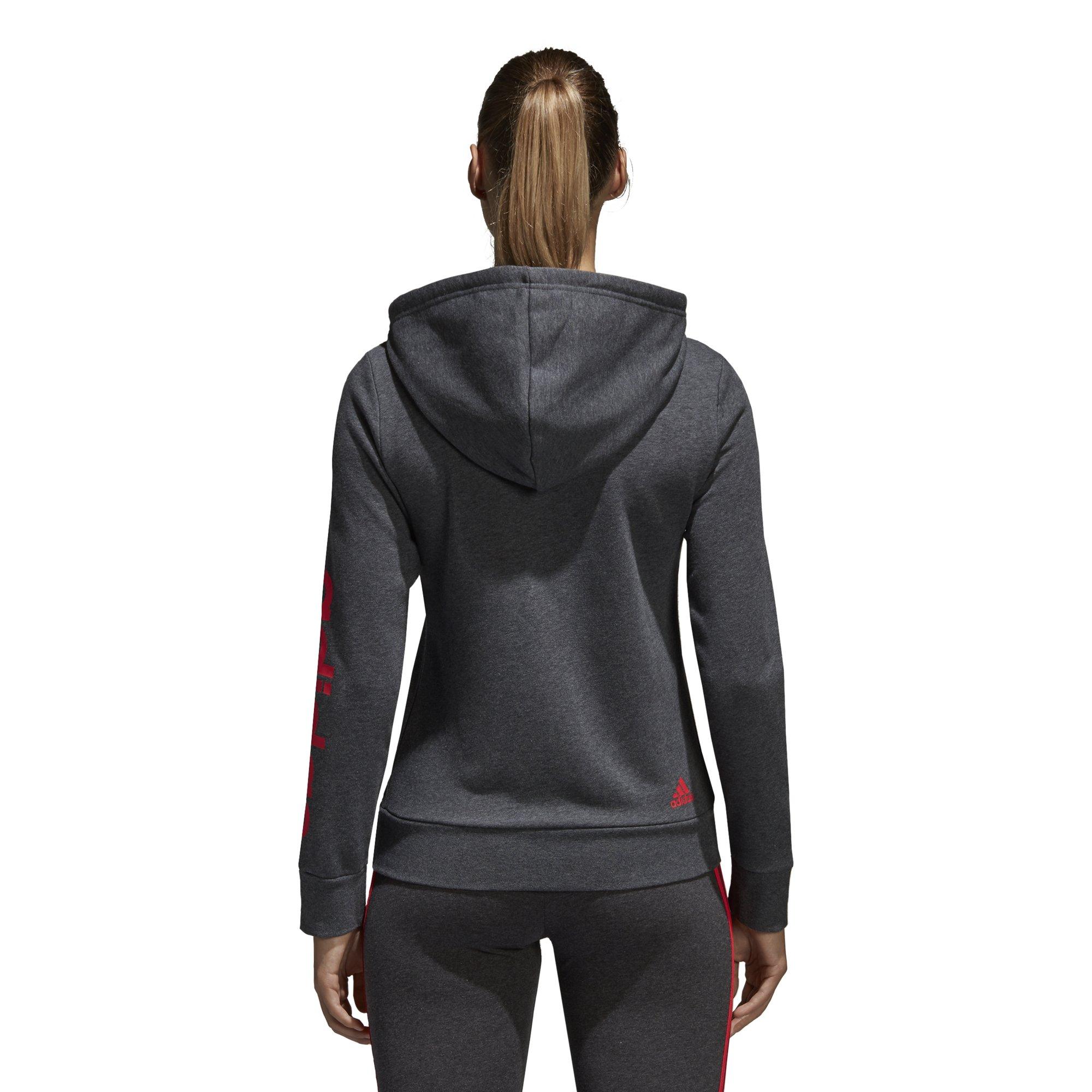 adidas Women's Essentials Linear Full Zip Fleece Hoodie, Dark Grey Heather/Real Coral, X-Small by adidas (Image #4)