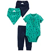 Simple Joys by Carter's Baby Boys' 4-Piece Bodysuit, Pant, Bib and Cap Set, Green Transportation, 3-6 Months