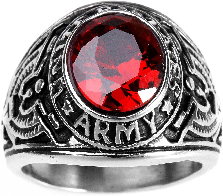HAMANY Joyería Anillo de Hombre,Acero Inoxidable con Piedra, Halcón del águila Estados Unidos Ejército