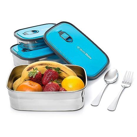 Amazon.com: Caja de almuerzo de acero inoxidable Bento ...
