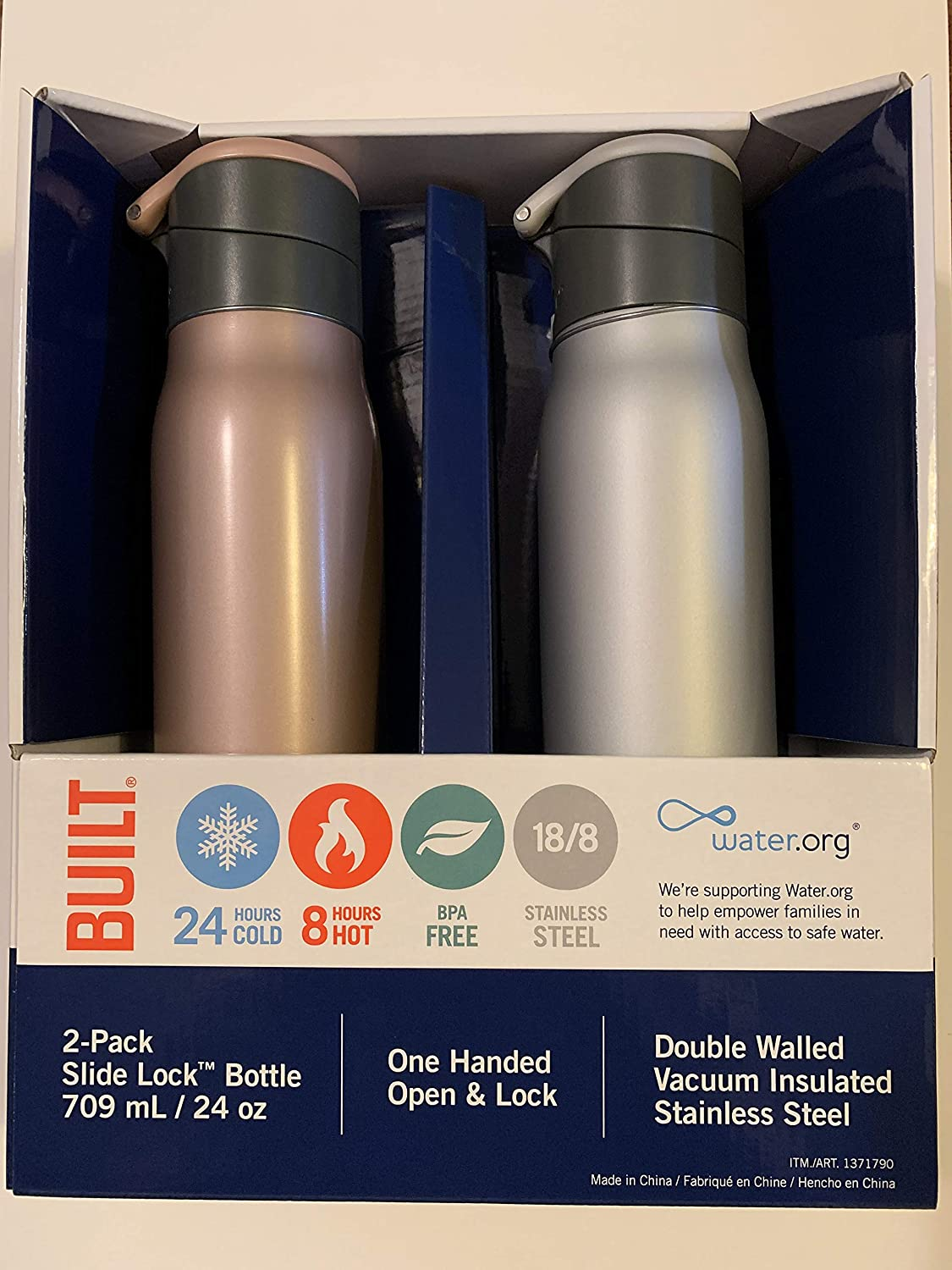 Built NY Double Walled Vacuum Insulated Stainless Steel Slide Lock Bottle, 24oz, 2-Pack, Rose Gold and Silver