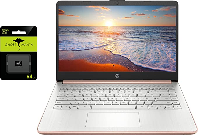 """2021 Newest HP 14"""" HD Laptop for Business and Student, Intel Celeron N4020(up to 2.8GHz), 4GB RAM, 64GB eMMC, 1 Year Office 365, USB-A&C, WiFi, Webcam, HDMI, Win10 S, w/Ghost Manta 64GB SD Card 