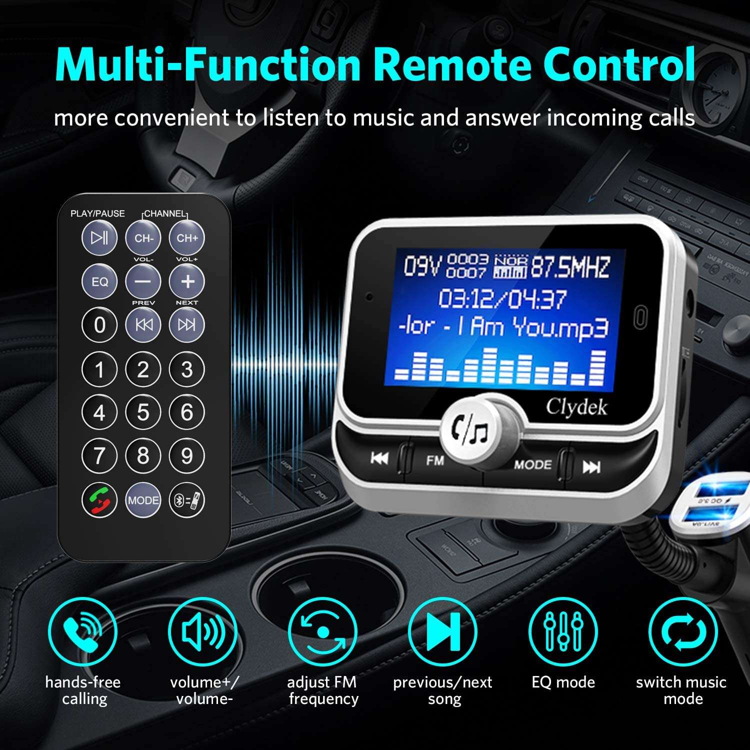 Bluetooth Fm Transmitter Car Clydek Car Charger Adapter With 1 8 Inch Display And Remote Control 4 Music Playback Modes Qc3 0 Quick Charger Hands Free Function Aux Input And Output Navigation Car