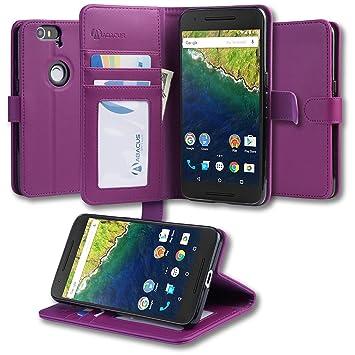 half off 56afe 33729 Abacus24-7 Nexus 6P Case, Nexus 6P Wallet Case, Leather Huawei Nexus 6 P  Flip Cover with Card Holder and Kickstand - Purple Flip Case for Huawei  Nexus ...