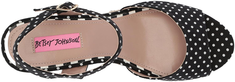 Betsey Johnson Women's Athena Espadrille Wedge Sandal B076XNCH1F 6 B(M) US|Black/White Polka Dot