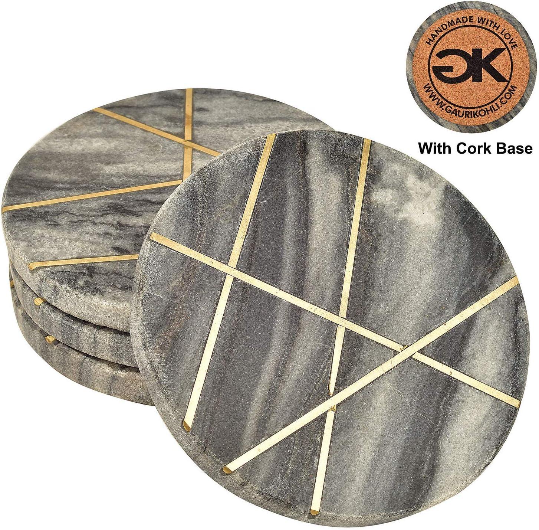 GAURI KOHLI Ocean Gray Round Marble Coasters with Cork Bottom, Gold Inlay (Large Size   Set of 4)