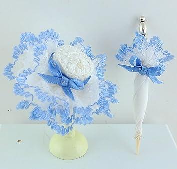 Other Dollhouse Miniatures Puppenhaus Viktorianisch Damen Blau Hut & Sonnenschirm Miniatur Shop Puppe