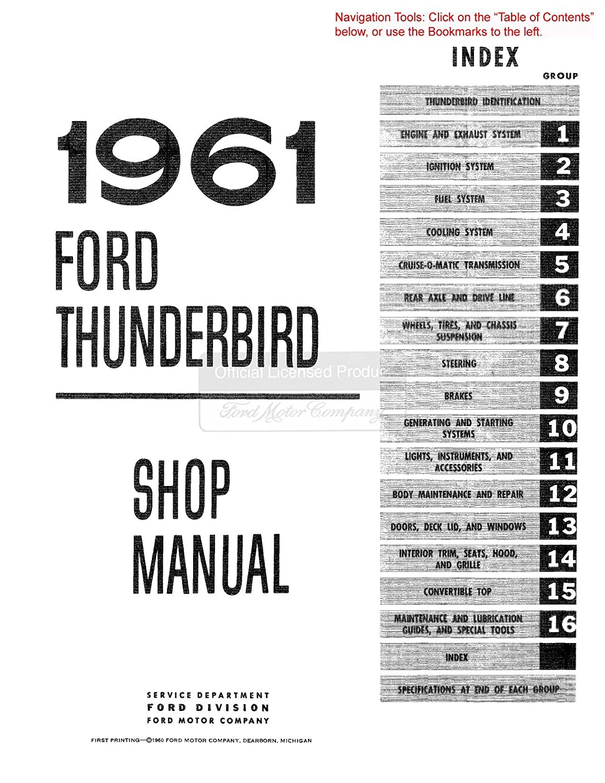 w// Convertible Top manual Shop Manual CD 1961 1962 1963 Ford Thunderbird
