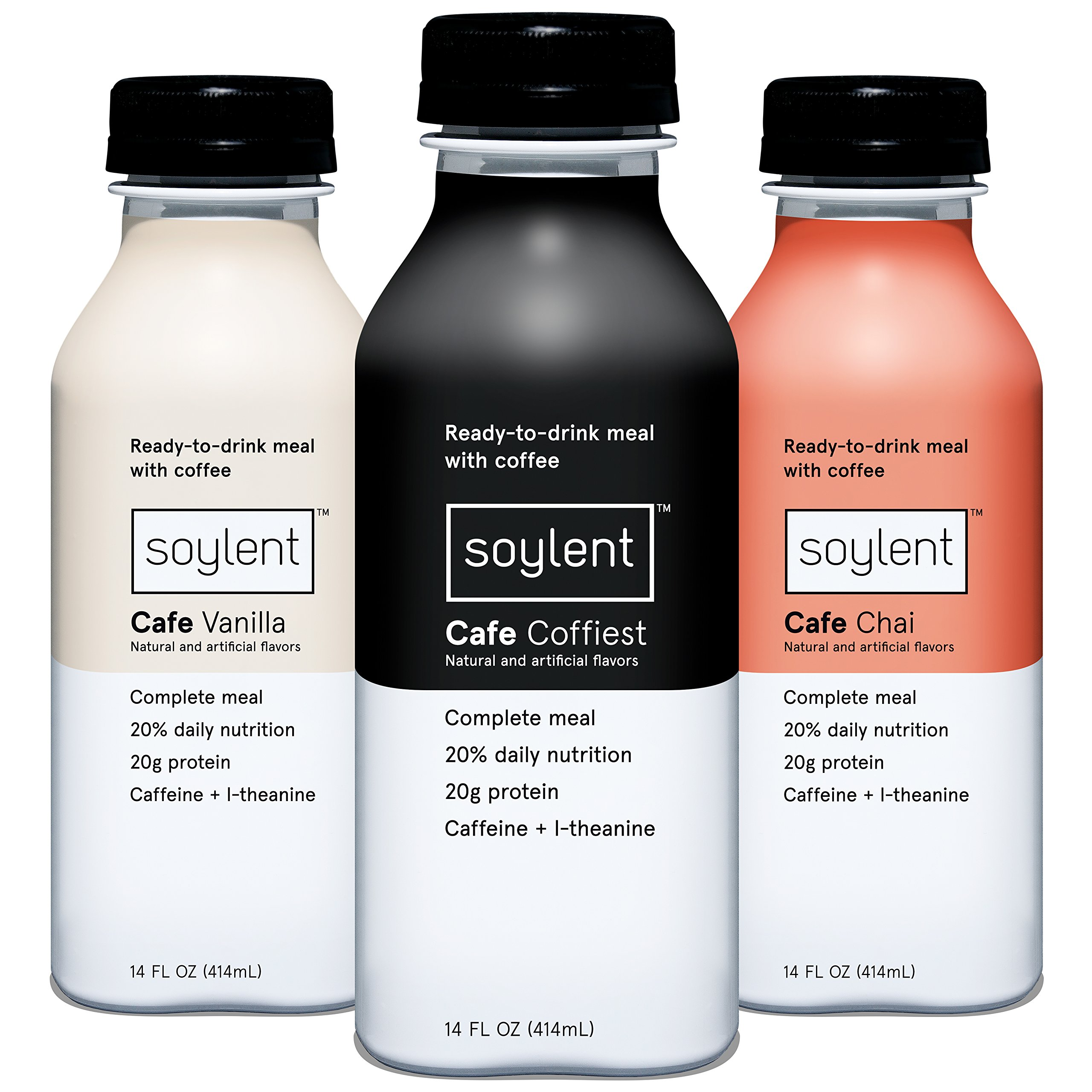 Soylent Meal Replacement Drink, Cafe Variety Pack, 14 oz Bottles, 12 Count