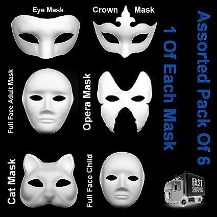 Variados Pack De 6 Máscaras Blanco Ojos Cat ópera Fancy Dress Masquerade Hasta Pintura (1 x