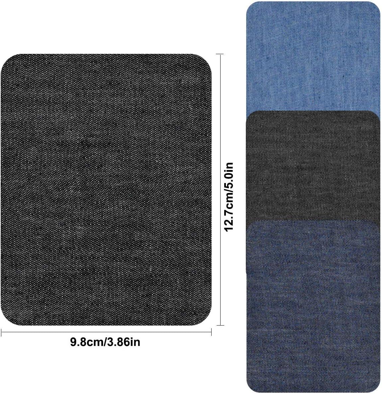 Jinlaili Fer sur des Patchs de Denim 18PCS Bleu Denim Patch en Tissu Patches /à Repasser Tissu Thermocollant Reparation Patchs pour V/êtement T-Shirt Jeans Veste Sac Patch Thermocollants