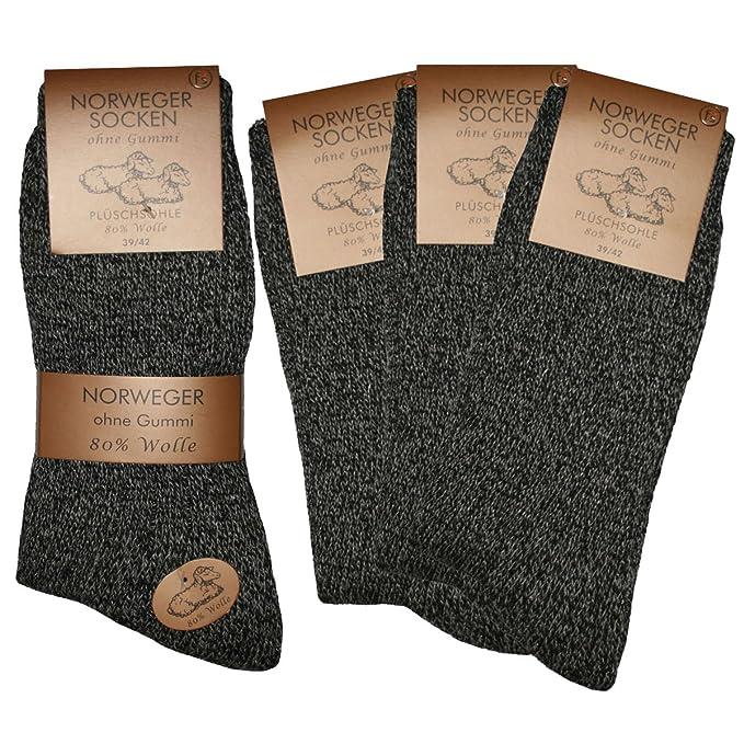 6 pares de calcetines Noruego sin goma + Negro jaspeado + 39, 40, 41