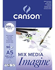 Canson Imagine - Bloc papel de dibujo, A5-14,8 x 21 cm, color blanco puro