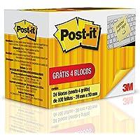 Bloco de Notas Adesivas, Post-it, 38x50mm, 24 Blocos de 100 Folhas, Amarelo