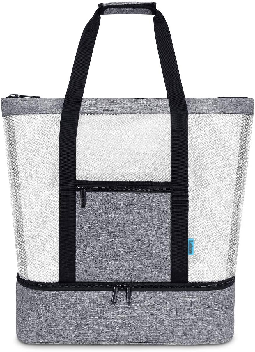 LOKASS Mesh Beach Bag With Insulated Picnic Cooler Toy Tote Bag Large Capacity 30L 125lbs Durable Grocery Storage Net Bag for Beach, Picnic