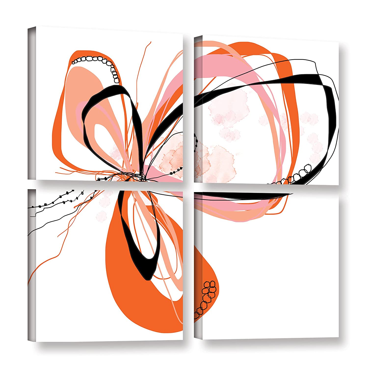 ArtWall Jan Weiss's Ribbons 3, 4 Piece Gallery Wrapped Canvas Square Set 36X36