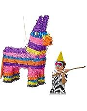 Relaxdays Pinata Esel, zum Aufhängen, Kinder, Mädchen, Jungs, Geburtstag, zum Befüllen, HxBxT: 55 x 40 x 13 cm, bunt