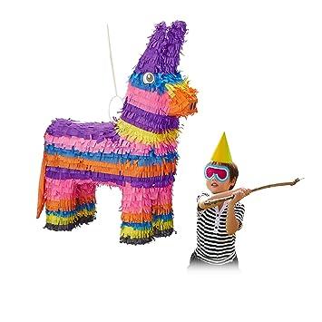 Relaxdays Piñata Infantil Burro Arcoíris, Multicolor, 55 x 40 x 13 cm (10022571)