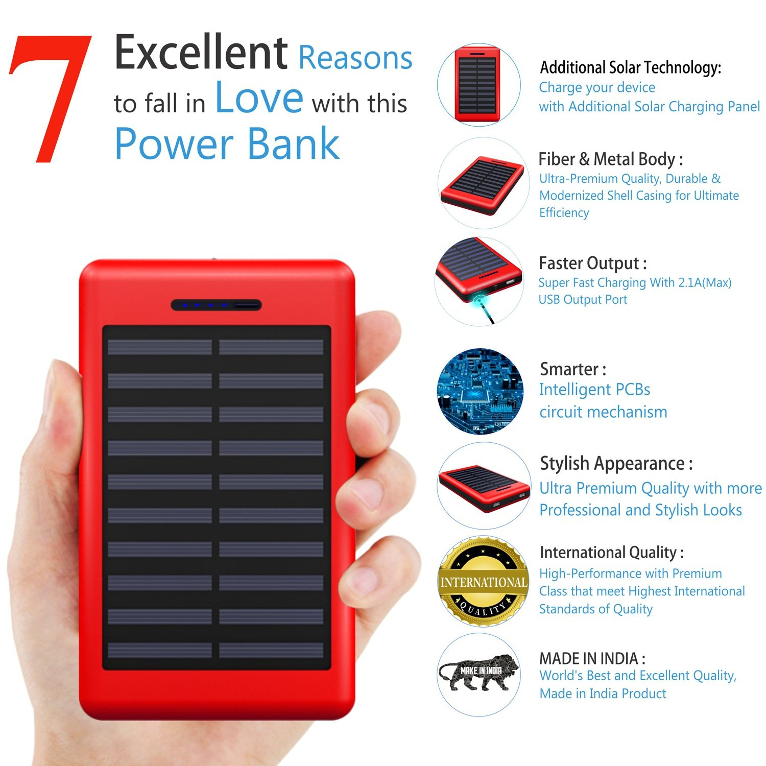 Coolnut High Performance Solar 13000 Mah Power Bank For All Smartphones Red Black Charger Circuits Electronics