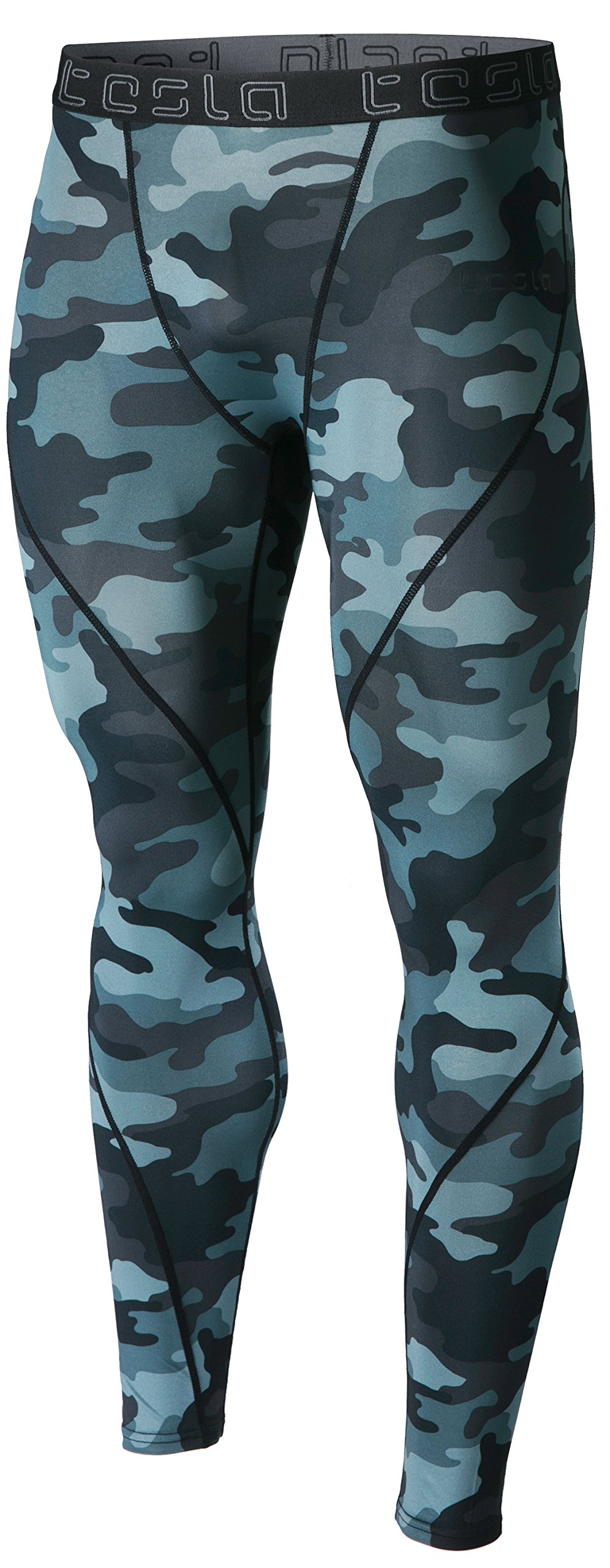 TSLA Men's Compression Pants Running Baselayer Cool Dry Sports Tights, Athletic(mup19) - Camo Dark Grey, Medium by TSLA