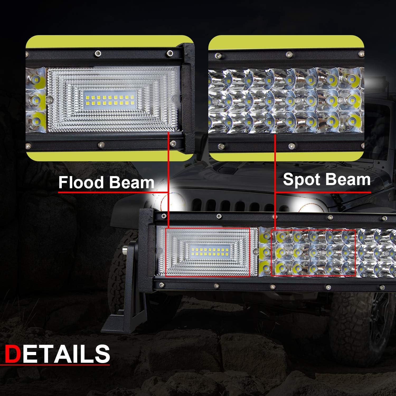 Willpower 22 zoll 270W Gebogene LED-Lichtleiste Spot Flood Combo Dreireihige Led Offroad Fahren Nebelscheinwerfer Mit Halterung Und Kabelbaum F/ür 4WD 4X4 ATV Pickup Truck Traktor Boot