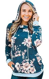 Hibluco Damen Casual Sweatshirt Blumen Hoodie Pullover mit Taschen 4d8642299b