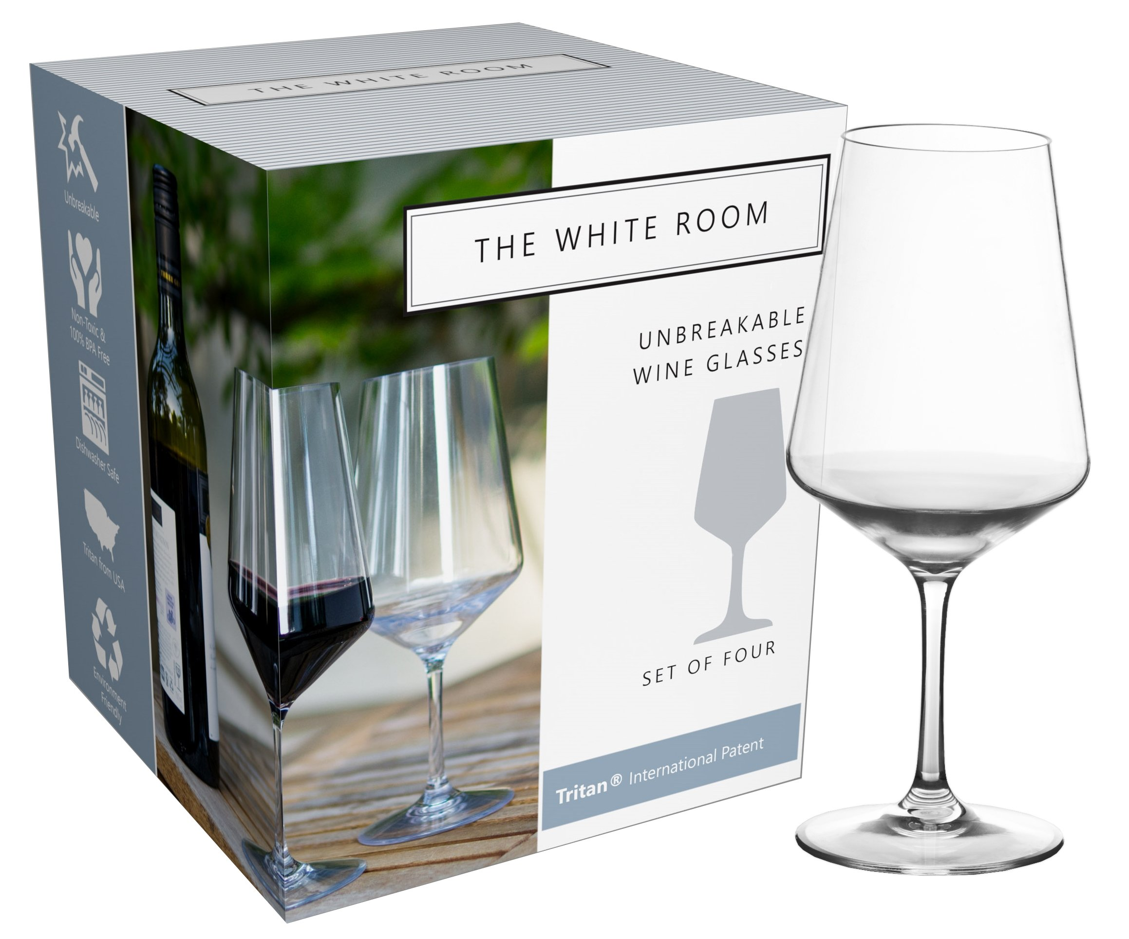 Premium Unbreakable Wine Glass Collection, 100% BPA Free Tritan Shatterproof Plastic, Dishwasher Safe, Large 22oz and Elegant Set of 4 by The White Room (Image #1)